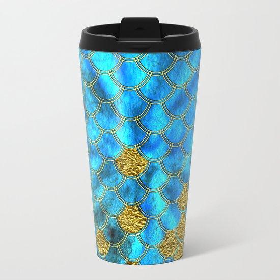 Blue aqua turquoise and gold glitter mermaid scales - Beautiful mermaidscales pattern on #Society6 Metal Travel Mug
