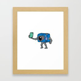 robot camera making selfie Framed Art Print