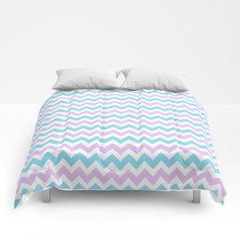 Light Blue, Lilac & White Chevron Pattern Comforters