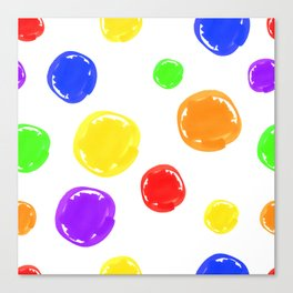 Seamless pattern of stylized circular spots colored markers Canvas Print