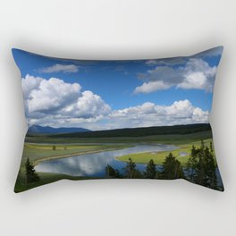Meadow With Yellowstone River Rectangular Pillow