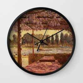 The Trellis by the River by Ferdinand Du Puigaudeau Wall Clock
