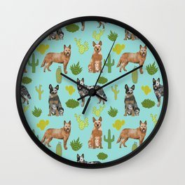 Australian Cattle Dog cactus pet friendly dog breed dog pattern art Wall Clock