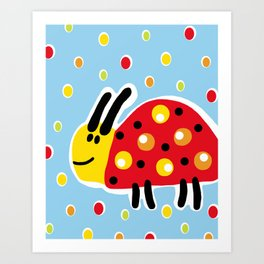 Colored Ladybug Art Print