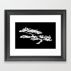 Bonzai Tree Reversed on Black Background Framed Art Print