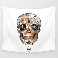 swedish Wall Tapestries featuring Skull 1 by LSjoberg
