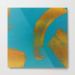 abstract brush stroke with golden sparkles on turquois Metal Print