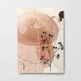 Aquarelle and Ink Flowers 02 Metal Print