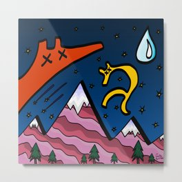 Night Sky Wolves And Pink Mountains Metal Print