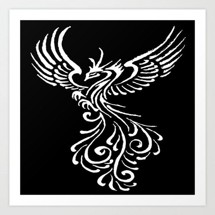 4542f5c5c Phoenix Bird White Tribal Tattoo Design Art Print by taiche | Society6