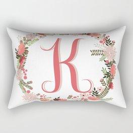 Personal monogram letter 'K' flower wreath Rectangular Pillow