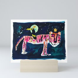 Toucan and Tiger in the Night Sky Painting Mini Art Print