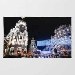 Gran Via Street at Night Rug