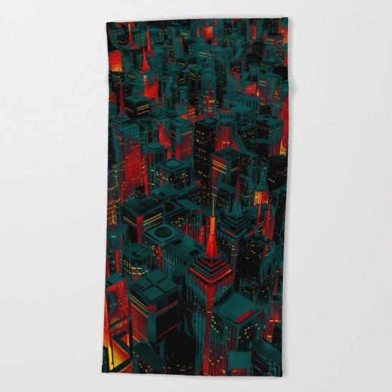 Night city glow cartoon Beach Towel