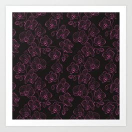 Seamless flower pattern with orchids phalaenopsis background Art Print