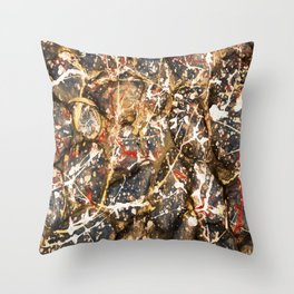 Blue Paint Drip Stones Throw Pillow