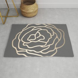 Rose White Gold Sands on Storm Gray Rug