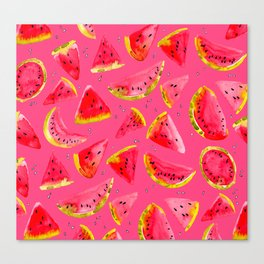 I Want Watermelon - watercolor fruit Canvas Print