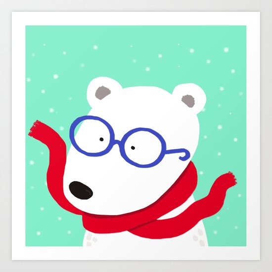 Hipster Polar Bear Art Print