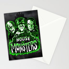 House of Monsters Phantom Frankenstein Dracula classic horror Stationery Cards
