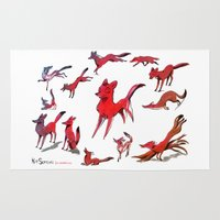 foxes Area & Throw Rugs featuring Foxes by Kit Seaton