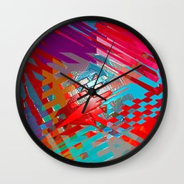 Abstract pink blue purple patchwork design Wall Clock