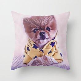 Pomeranian Wearing Pajamas Throw Pillow