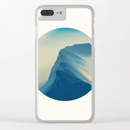 Mid Century Modern Round Circle Photo Minimalist Mountain Blue Watercolor Effect Clear iPhone Case
