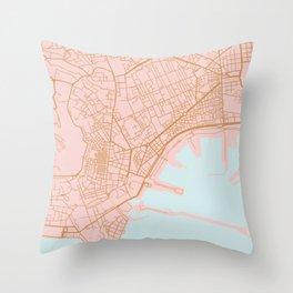 Napoli map Italy Throw Pillow