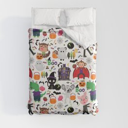 Cute Halloween Monster Trick Or Treaters Duvet Cover