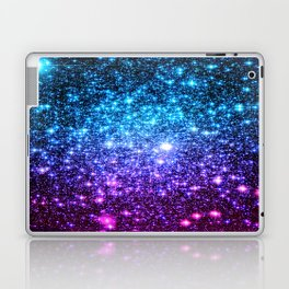 Glitter Galaxy Stars : Turquoise Blue Purple Hot Pink Ombre Laptop & iPad Skin