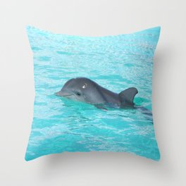 Baby Dolphin Coming up for air Throw Pillow