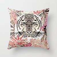 tiger Throw Pillows featuring TIGER by Monika Strigel