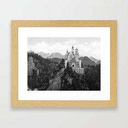Black and White Neuschwanstein Castle Framed Art Print
