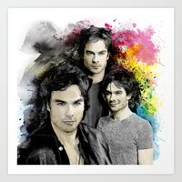 vampire diaries Art Prints featuring Inspired by Damon Salvatore and the Vampire Diaries by Purshue feat Sci Fi Dude