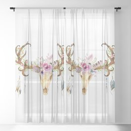 Deer Skull Sheer Curtain