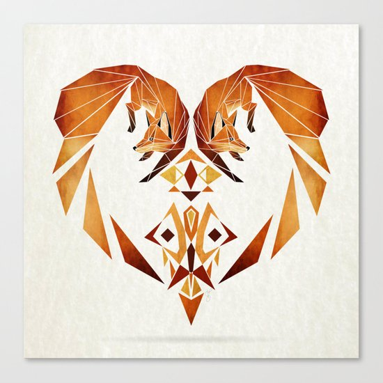 foxes heart  Canvas Print