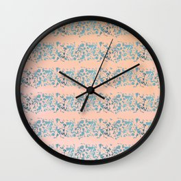 Coral teal watercolor abstract geometric stripes Wall Clock