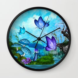 Mystic Whimsey Butterfly Pond Fantasy Wall Clock