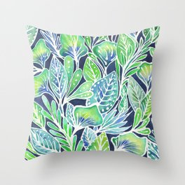 Masked Flora Collection Leaves Throw Pillow