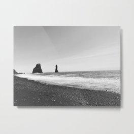 Reynisfjara Beach - B&W Series Metal Print