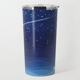 Falling star, shooting star, sailboat ocean waves blue sea Travel Mug