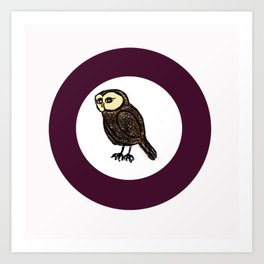 Owl in Purple Circle  Art Print