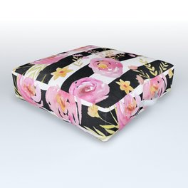 Delicate Poppy Pattern On Stripes 2 Outdoor Floor Cushion
