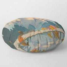 Morning Mist in Taj Mahal Vintage Beautiful Japanese Woodblock Print Hiroshi Yoshida Floor Pillow