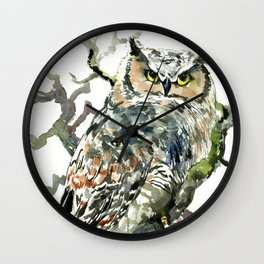 Great Horned Owl in Woods Wall Clock