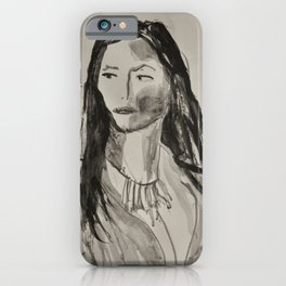 Portrait of a Woman in Black and White iPhone Case