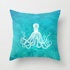 Nautical Decor - Octopus in the Clear Turquoise Water Throw Pillow