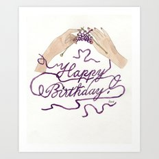 Knitting You a Happy Birthday Art Print