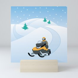 Snowmobiling on a Snowy Winter Day Mini Art Print